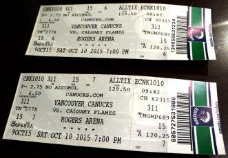 Tickets para o jogo de Hockeu do Vancouver Canucks